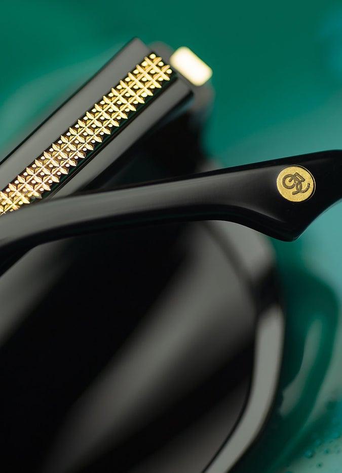 9FIVE Lawrence Black & 24K Gold Sunglasses