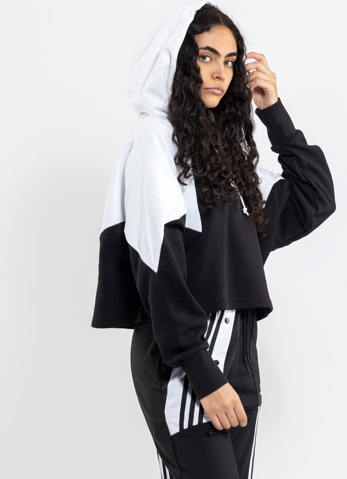 adidas Large Logo Cropped Hoodie - Womens
