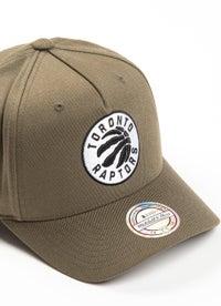 Mitchell & Ness NBA Toronto Raptors Olive B&W Logo 110 Snapback Cap