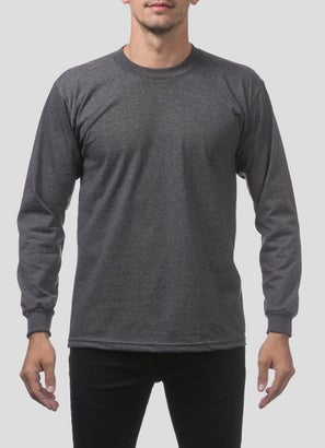 PROCLUB Heavy Weight Charcoal Long Sleeve T-Shirt