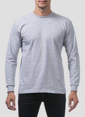 PROCLUB Heavy Weight Heather Grey Long Sleeve T-Shirt