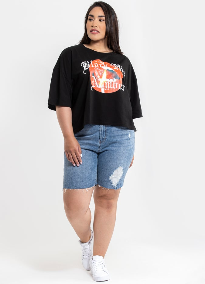 "Royal ""Luscious"" Crop Tee - Curve"