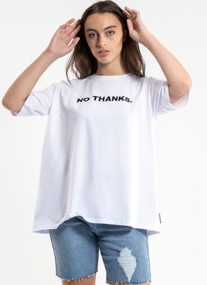 Royal No Thanks Oversized Tee - Womens
