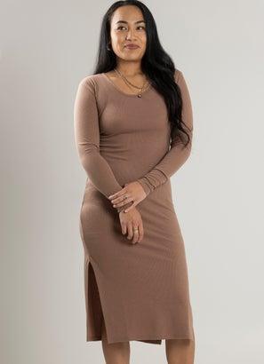 Royàl Ribbed Lush Long Sleeve Dress