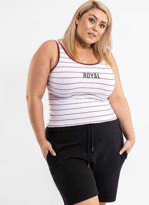 Royal Stripped Singlet - Plus & Curve
