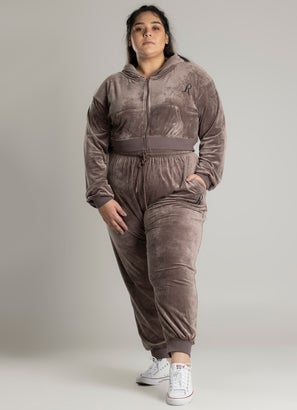 Royàl Lux Velour Zip Through Sweatshirt - Plus & Curve