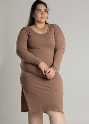 Royàl Ribbed Lush Long Sleeve Dress - Plus & Curve